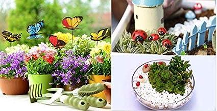 Krisah® 5pcs Butterflies on Metal Wire with 5 pcs Ladybugs Garden/Plant Decor