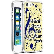 SE Case Music Note,iPhone SE/5S/5 Slim Soft Tpu Case - When Words Fail Music Speaks
