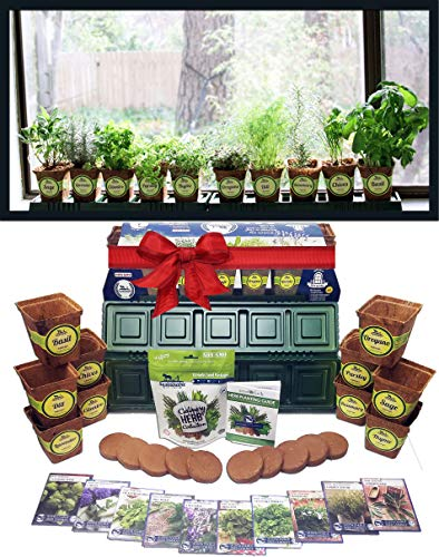 Windowsill Herb Garden Kit, Herb Planter Comes Complete with a 10 Variety Non GMO Heirloom Herb Seed Collection & Herb ()