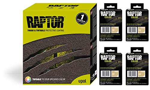 Raptor UP5057 Truck Bed Liner 1US Gallon + 4 Beige Colors Bundle