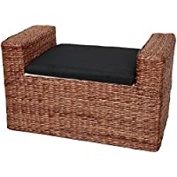 ORIENTAL FURNITURE Rush Grass Storage Bench - Dark Brown