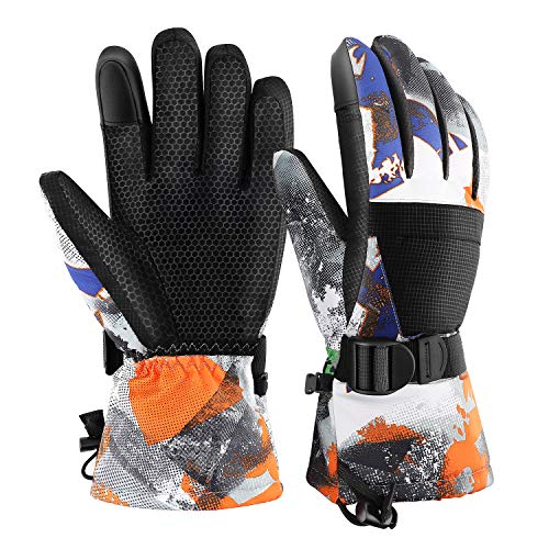 Rhino Valley Ski Gloves, Winter Windproof Thermal Warm Insulated Snow Telefingers Gloves with Zipper Pocket Fit Motorcycle Skiing, Skating, Snowboarding Outdoor Activities for Men Women Kids