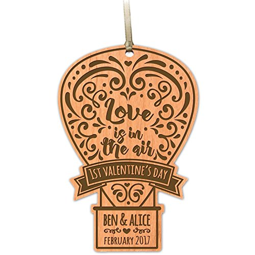 """LifeSong Milestones Customizable Rustic Family Wooden Valentine's Ornament 6.25"""" x 4.25"""" by (1st Valentines Day Balloon) (Day Balloons Send Same)"""