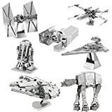 Novadeal Star Wars Set of 7 Models Kit, 3D Assembly Metal Nano Puzzle Kits For Kids and Adults Toy (With Tools)