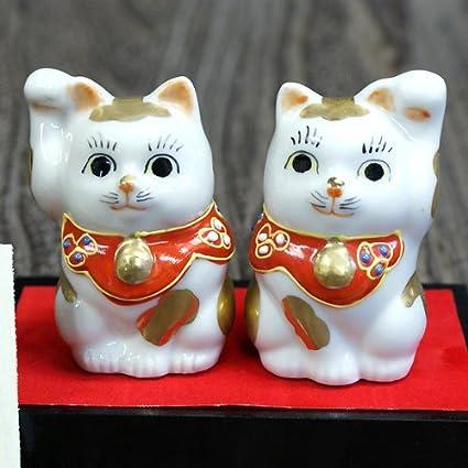 Gatos de la suerte japonés par Maneki Neko Kutani cerámica