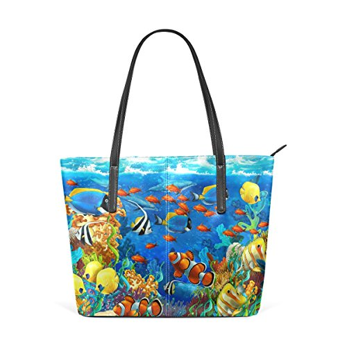 COOSUN Unter Wasser Fische In Ocen Sea Tropical PU Leder Schultertasche Handtasche und Handtaschen Tasche für Frauen