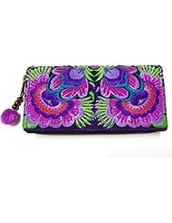 Wallet by WP Embroidery Sunflower Zipper Wallet Purse Clutch Bag Handbag Iphone Case Handmade for Women, Purple Wallet
