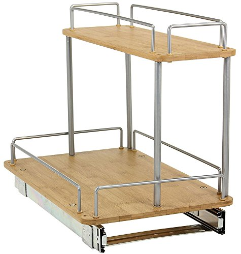 MD Group Pull Out Cabinet Shelf, 2-Tier Bamboo Cabinet Organizer, 19.25