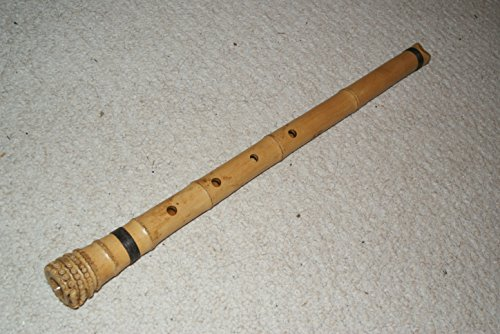 2.0 - Zen 5 Holes Pentatonic Shakuhachi Bamboo Flute/ standard natural shakuhachi voicing mouthpiece/ w. Root End/ comes with one thick fabric sleeve bag.