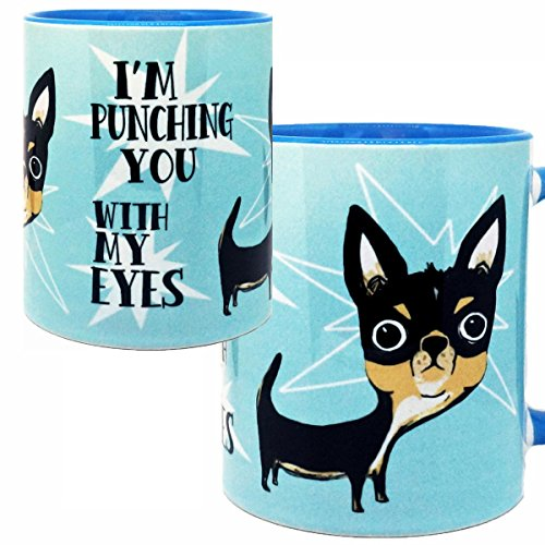 Eye Punch Dog Chihuahua Mug by Pithitude - One Single 11oz. Blue Coffee Cup