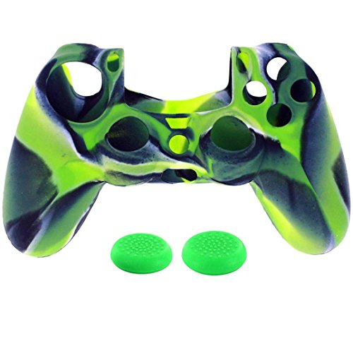 Price comparison product image GBSELL 1PC Silicone Case Cover +2PC Rocker Cap For Playstation PS4 Controller (Green)