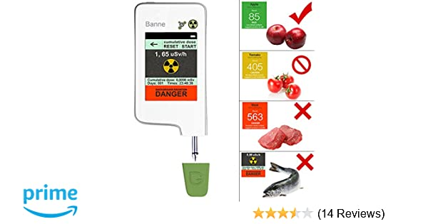 Food Radiation Detector, Banne Portable Touch-Screen Nitrate Detector Radiation Tester Geiger Counter with Built-in Magnet for Fruits, Vegetables, ...