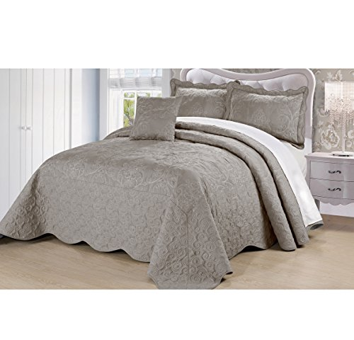4 Piece Beautiful Grey Queen Bedspread Set, Floral Themed Bedding Stylish Vintage Antique Pretty Classic Elegant Shabby Chic Scalloped Flower Garden Damask French Country Gray, Microfiber, Polyester by AD
