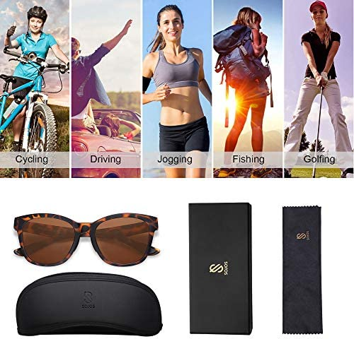 SOJOS Womens Sport Polarized Sunglasses Square TR90 Frame UV400 Lenses SJ2089