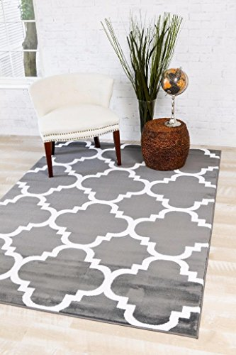 4518 Charcoal Moroccan Trellis 5'2x7'2 Area Rug Carpet Large New