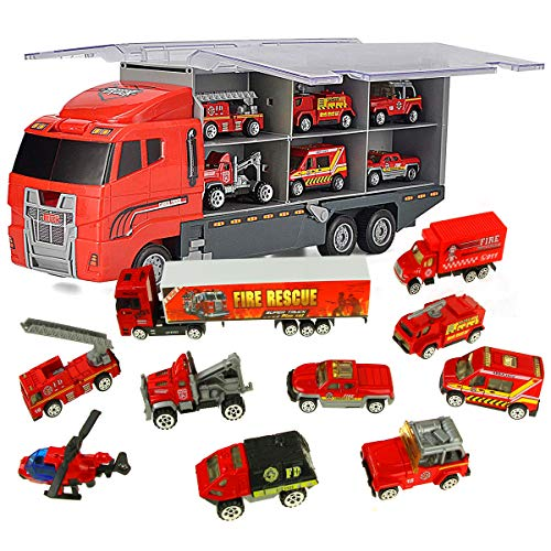 Jenilily Fire Truck Vehicle Container Car Toy Set Mini, used for sale  Delivered anywhere in USA