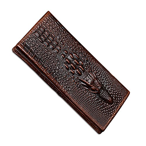 Men's Business Genuine Cowhide Leather Crocodile Embossing Long Bifold Wallet