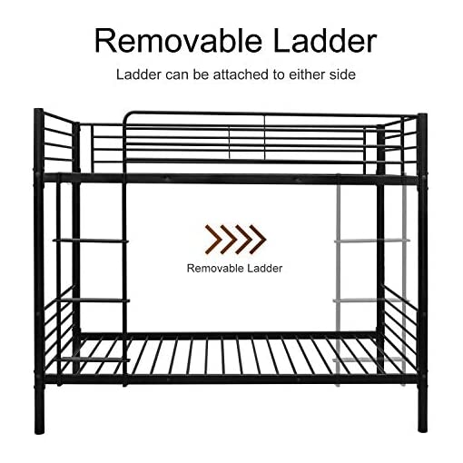 Bedroom Bonnlo Metal Bunk Bed Twin Over Twin Heavy Duty Bed Frame with Safety Guard Rails & Flat Ladder W/Rubber Cover for Kids… bunk beds