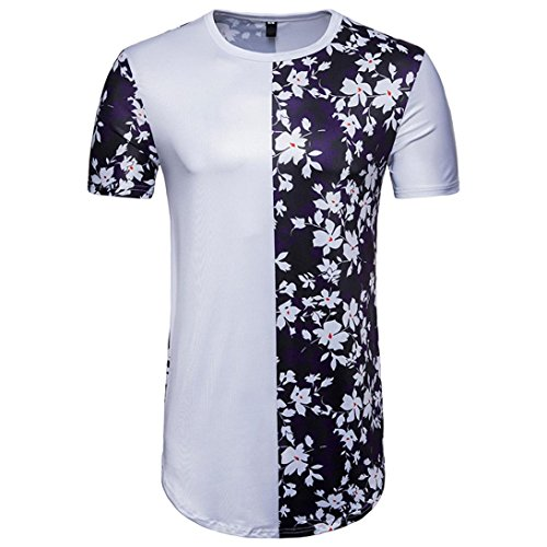GREFER Men's Long Section Casual Patchwork Floral Print Short Sleeve T-Shirt Top Blouse (XXL, White)