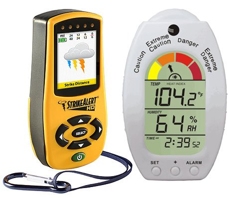 Ambient Weather LD-3000-WS-HE01-KIT Handheld Strike Alert HD Lightning Detector and Heat Stress Monitor Safety Kit