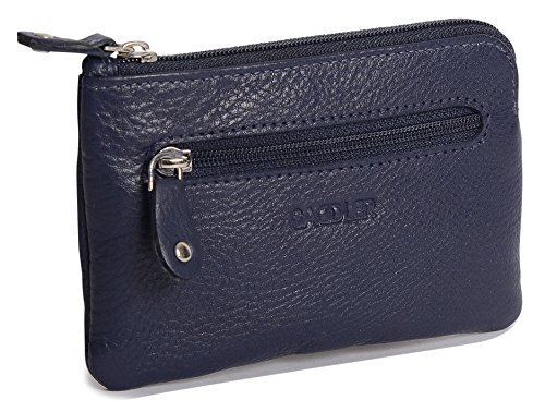 SADDLER Womens Leather Rectangular Zipper Top Coins and Key Purse - Peacoat Blue by Saddler