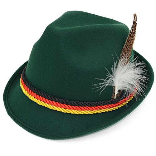 Melesh Dark Green German Alpine Oktoberfest Bavarian Costume Hat with Feather
