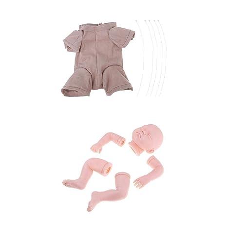 KESOTO Muñeca sin Pintura Reborn Molde Completo Paño de Cuerpo de Bebé Suministros de Bricolaje Decoración