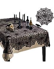 Korlon Halloween Tablecloth, Halloween Spider Web Tablecloth Table Cover, Rectangular Round Black Spider Web Lace Tablecloth for Halloween Kitchen Decor Party Decorations