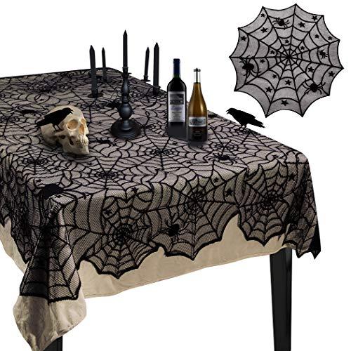 Korlon 2 Pieces Halloween Tablecloth, Halloween Spider Web Tablecloth Table Cover, 54