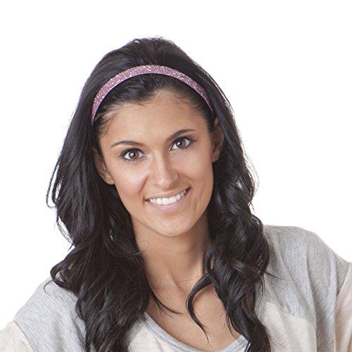 Hipsy Women's Adjustable NO SLIP Skinny Bling Glitter Headband Multi 3pk (L. Pink/Gunmetal/White)