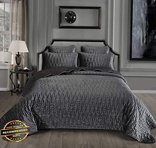Werrox 3-Piece Modern Pattern Solid Velvet Quilt Set King Size | Quilt Style QLTR-291266862