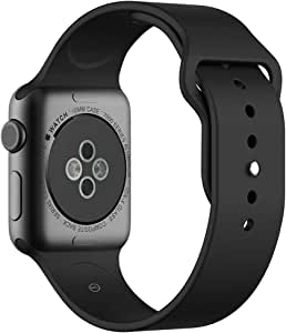 Soft Silicone Sport Band [2 Lengths] Large/Small Wrist Strap Replacement for Apple Watch 2015 & 2016 All Models 42mm - Black