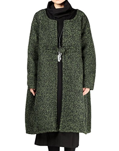 Button Cuff Wool Coat (Mordenmiss Women Loose One-Chinese Frog Button Wool Coat XL Blackish Green)