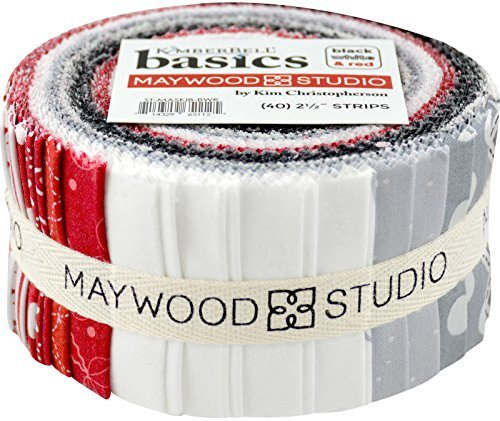 KimberBell Basics Black White & Red Strips 40 2.5-inch Strips Jelly Roll Maywood Studio by Maywood Studio