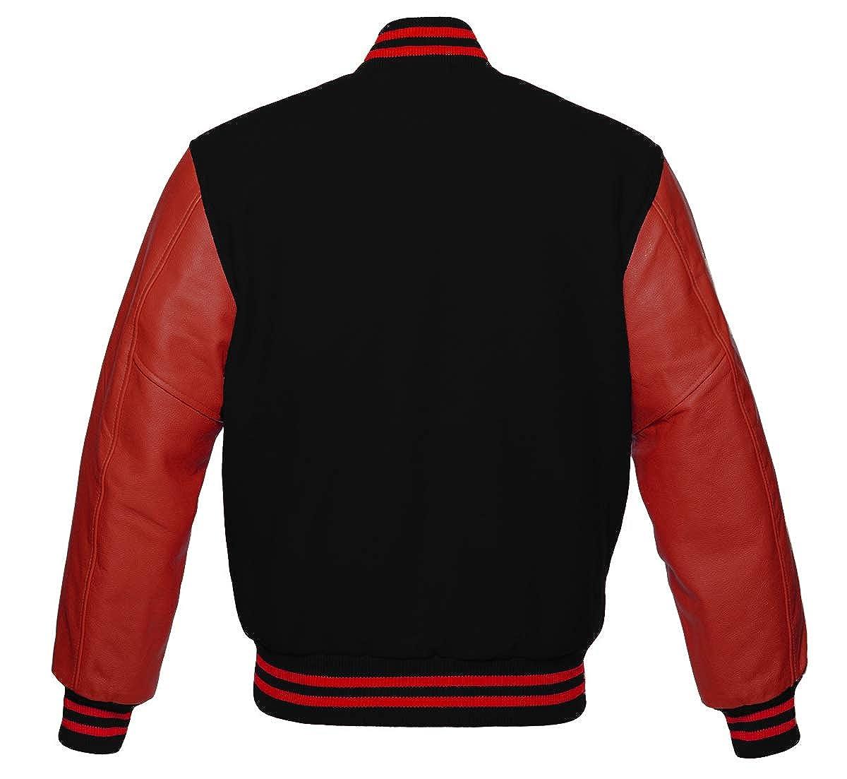 Varsity Letterman Baseball Bomber Retro Vintage Jacket Black Wool and Red Genuine Leather Sleeves