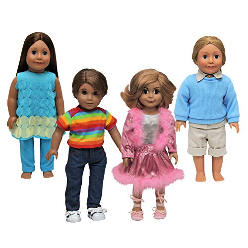 The Queen's Treasures 10 Pieces 18 Inch Doll Clothes -4 Fabulous Outfit Set Includes Camp Outfit, Denim Jeans & Rainbow Shirt, Pink Sparkle Outfit & Turquoise Legging Set Fits American Girl Dolls