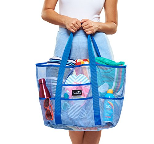 Dejaroo Mesh Beach Bag - Toy Tote Bag - Large Lightweight Market, Grocery &...