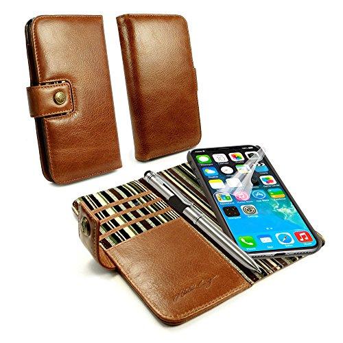 Alston Craig Schlank Magnetisch Schale RFID Vintage Ledertasche Brieftasche & Stift für Apple iPhone 8 - Braun