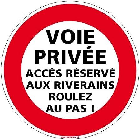 Protection Anti-UV Panneau Diam/ètre 350 mm Voie Priv/ée sans Issue Aluminium 2 mm