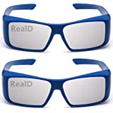 Super Clear Passive Circular Polarization 3D Glasses for Movies,Suitable for Polarizing(Non-Flash) 3D Cinema Theater TV Projectors(RealD) 2PACK