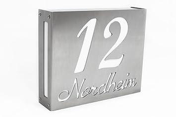 thorwa moderne beleuchtete design edelstahl hausnummer hausnummernleuchte led hausnummernschild mit individuellem schriftzug edelstahl