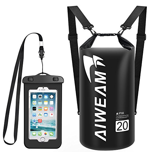 AIWEAM Waterproof Dry Bag 20l - Small Dry Bags for Kayaking - Camping Gear Roll Top Ocean Pack with IPX8 Waterproof Phone Case Great for Sailing Boating Rafting Hiking Swimming Skiing