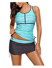 SheShy Womens Zip Front Striped Racherback Tankini Top With Skirt Bottom