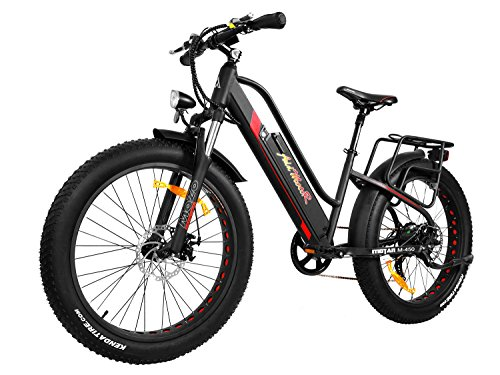Addmotor MOTAN Electric Bike Step Thru 500W Motor Ebike 26 Inch Fat Tire Full Suspension Electric Bicycle 10.4Ah Battery Comfort Fitness Bike 2018 M-450 Pedal Assist Commuter for Adults (Black/Red)