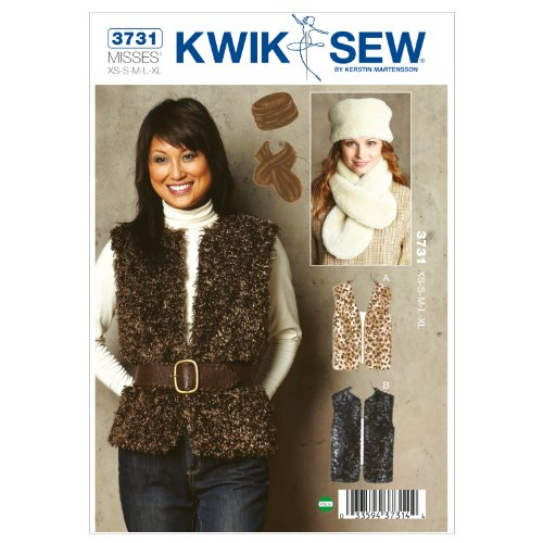 Kwik Sew K3731 Vests Sewing Pattern, Hat and Scarf