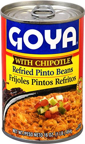 Goya Refried Beans - Goya Foods Refried Pinto Bean with Chipotle Peppers, 16-Ounce (Pack of 12)