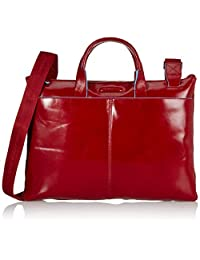 Piquadro Slim Expandable Briefcase In Leather, Red, One Size