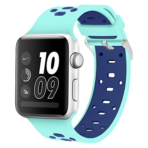 Band for Apple Watch 42mm, Alritz [Patent Pending] Silicone Sport Straps Replacement Wristband Bracelet for Apple Watch Nike+, Series 2, Series 1, Sport, Edition, Turquoise/Blue