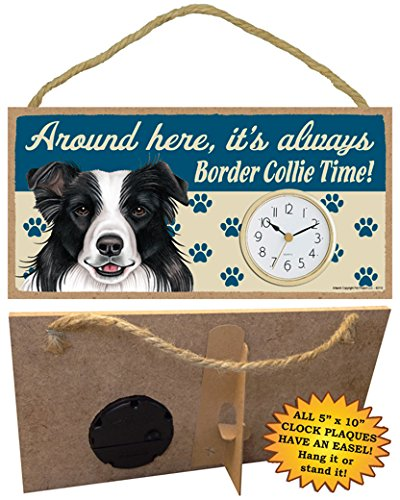 Its Always Border Collie time SJT ENTERPRISES INC Around here SJT62112 5 x 10 Wood Dog Clock Sign for Wall or Desk