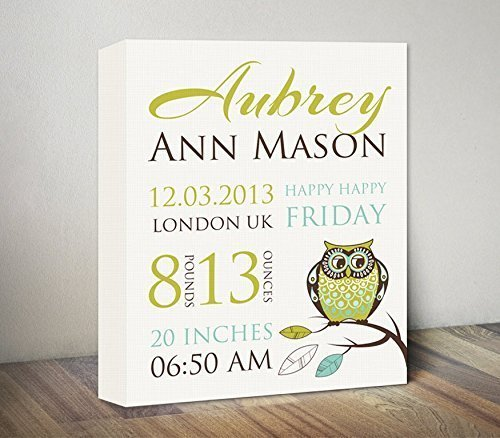 amazon com owl birth announcement canvas art new baby gifts baby